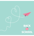 Back to school Origami paper plane Two dash heart vector image vector image