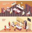 bakery isometric banners vector image vector image