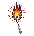 burning match in style a traditional tattoo vector image