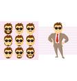 businessman face set cartoon character vector image vector image