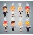Businessmen with Icons Set vector image vector image