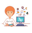 businesswoman with social media icons vector image vector image