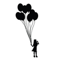 child with balloon silhouette vector image vector image