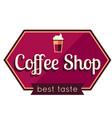 coffee shop best taste purple hexagon background v vector image