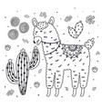 coloring page with cute llama eating a cactus vector image vector image