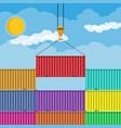 crane hook lifts metal cargo container vector image