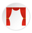 curtain on stage icon circle vector image vector image