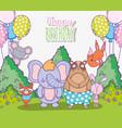 cute animals happy birthday celebration vector image