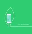 eco phone charge wire isolated on green backgroun vector image