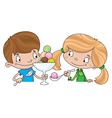 girl and boy with ice cream vector image vector image