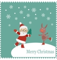 Greeting card with happy Santa and rabbit skates vector image vector image