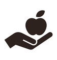hand giving apple icon vector image