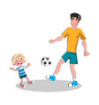 happy fathers with son playing football vector image vector image