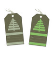 herringbone knitted on the label green vector image vector image