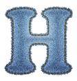 Jeans alphabet Denim letter H vector image vector image