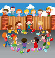 kids playing balloons on street vector image