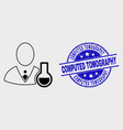 linear chemical scientist icon and grunge vector image vector image