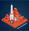 mars exploration isometric composition vector image vector image