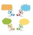 Megaphone Banners Bubbles Speech vector image vector image