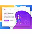 music app web landing page for business marketing vector image vector image