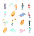 people connecting devices concept icon set 3d vector image vector image