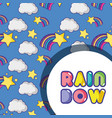 rainbow with star and clouds background design vector image