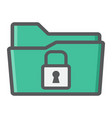 secure data folder colorful line icon security vector image