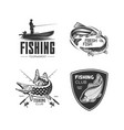 set logos on a fishing theme vector image vector image