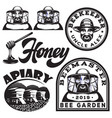 set of monochrome templates on honey and vector image