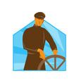ship captain helsman steering wheel retro vector image vector image