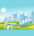 solar panels and wind vector image vector image