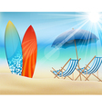 Summertime on beach with surfboard vector image