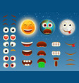 sun earth moon emoji design collection vector image
