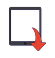 tablet downloading files symbol blue lines vector image