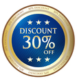 Thirty Percent Discount Blue Label vector image vector image