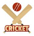 trendy cricket logo flat style vector image