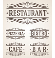 Vintage restaurant and cafe labels and signs vector image vector image
