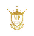 vip club logo design luxury golden badge vector image vector image