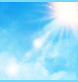 white cloud detail in blue sky with sunshine vector image vector image