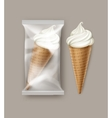 White Ice Cream Waffle Cone with Transparent Foil vector image vector image
