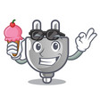 with ice cream power plug in the character shape vector image