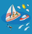 yacht with tourists isometric composition vector image