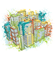 isometric city landscape with watercolor splashes vector image