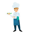 cartoon chef with a plate of dinner vector image
