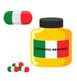 Patriotic medicine Italy Pills with Italian flag vector image