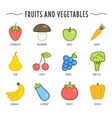 Set of fruits and vegetables isolated on white vector image