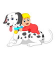 a cute baby is holding the big white dog vector image