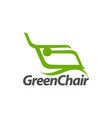 abstract green chair logo concept design template vector image vector image