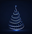 abstract neon christmas tree with glowing stars vector image