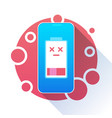 battery charge icon low level red indicator vector image